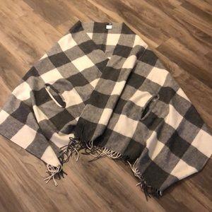 J Crew cape-scarf in oversized plaid